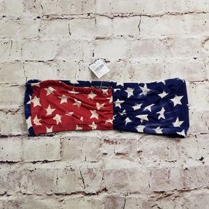 Tillys See You Monday Flag Bandeau Red White Blue